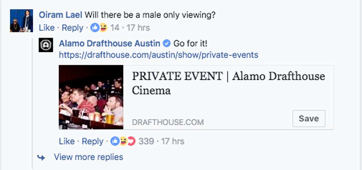 """""""Go for it,"""" Alamo Drafthouse suggesting men host their own """"male only"""" viewing, like the Billy Madison Show is doing on June 22."""