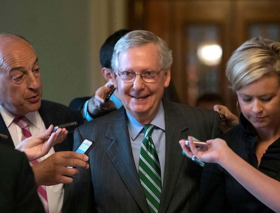 Mitch McConnell, Senate majority leader, can afford just two GOP de fections. Photo: J. Scott Applewhite, Associated Press