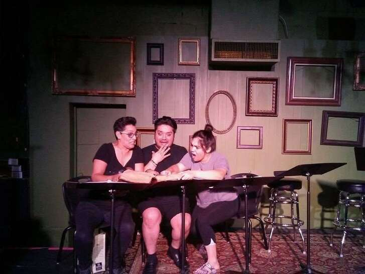 """Teatro Audaz presented a staged reading of """"Aye, No!"""" — featuring, from left, Gloria Sanchez, Jaime Gonzalez and Susi Lopez — at the Bang Bang Bar last year. The company is slated to present a full production in the Cellar Theater of The Playhouse San Antonio, where it's a resident company, next year."""