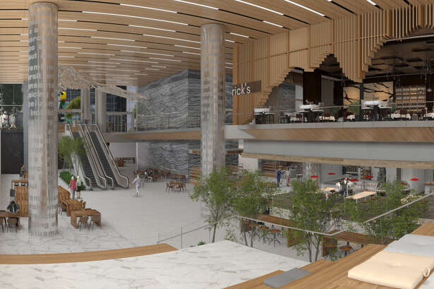 The tunnel level atrium at Capitol Tower provides a view from the street. Capitol Tower, a new office building at 800 Capitol in downtown Houston, will have 26,000 square feet of retail space.