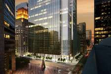 This rendering shows Capitol Tower, a 35-story office building being developed by Skanska USA at 800 Capitol. Gensler designed the building, which will open in 2019.