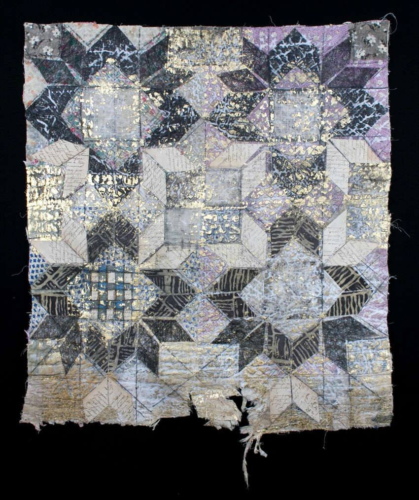 Mockingbird Handprints is hosting an exhibit by textile artist Jane Dunnewold. Works in the show include re-worked quilt pieces inspired by a vintage baby quilt.