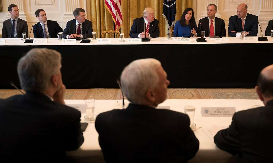 President Donald Trump takes part in a discussion during the American Leadership in Emerging Technology event at the White House in Washington Thursday. Photo: STEPHEN CROWLEY, NYT