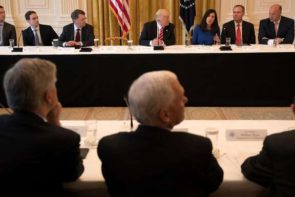 President Donald Trump takes part in a discussion during the American Leadership in Emerging Technology event at the White House in Washington, June 22, 2017. From left: Jared Kushner; Michael Kratsios of the Office of Science and Technology; Peter Barris of New Enterprise Associates; Trump; Dyan Gibbens of Trumbull Unmanned; Darius Adamczyk of Honeywell; and Gary Cohn of the National Economic Council. (Stephen Crowley/The New York Times)