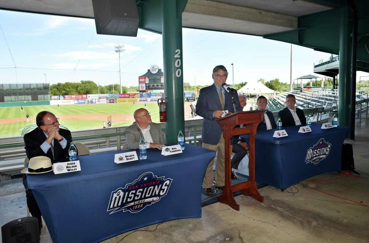 Missions president Burl Yarbrough, second from left, acknowledged that when minor league baseball returns to San Antonio, it might be at the Double-A level instead of Triple-A.