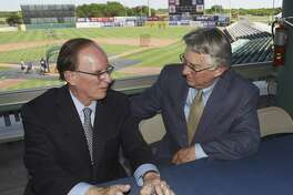 Bexar County Judge Nelson Wolff, an advocate of baseball in San Antonio, left, speaks with Pacific Coast League president Branch Rickey after a press conference to announce that San Antonio will host a Pacific Coast League Triple-A baseball team beginning in 2019. The city is well-suited for Triple-A ball, but should be cautious about public financing for a stadium.