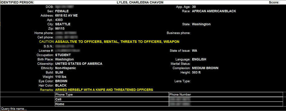 The police information on Charleena Lyles shows that she indeed had a mental health caution attached to her profile, despite responding officers saying she didn't on the dashcam recording.Lyles had displayed possible mental health struggles during a an earlier confrontation with police at her home. Photo: Seattle Police Department