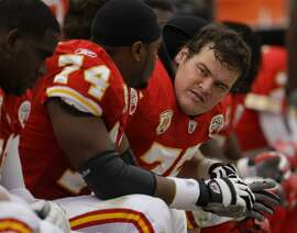 Ryan O'Callaghan, right — sitting on the Chiefs' bench during a 2009 game — hid the fact that he is gay as he grew up in Redding and played at Cal, and one thought he would commit suicide after his football career.