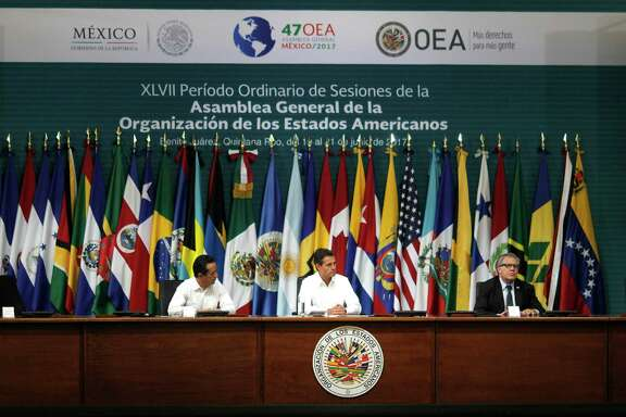 The 2017 OAS General Assembly is meeting this week in Cancun, Mexico. U.S. lawmakers question the role of the OAS in shaping social policies in Latin American nations. (Israel Leal / Associated Press)