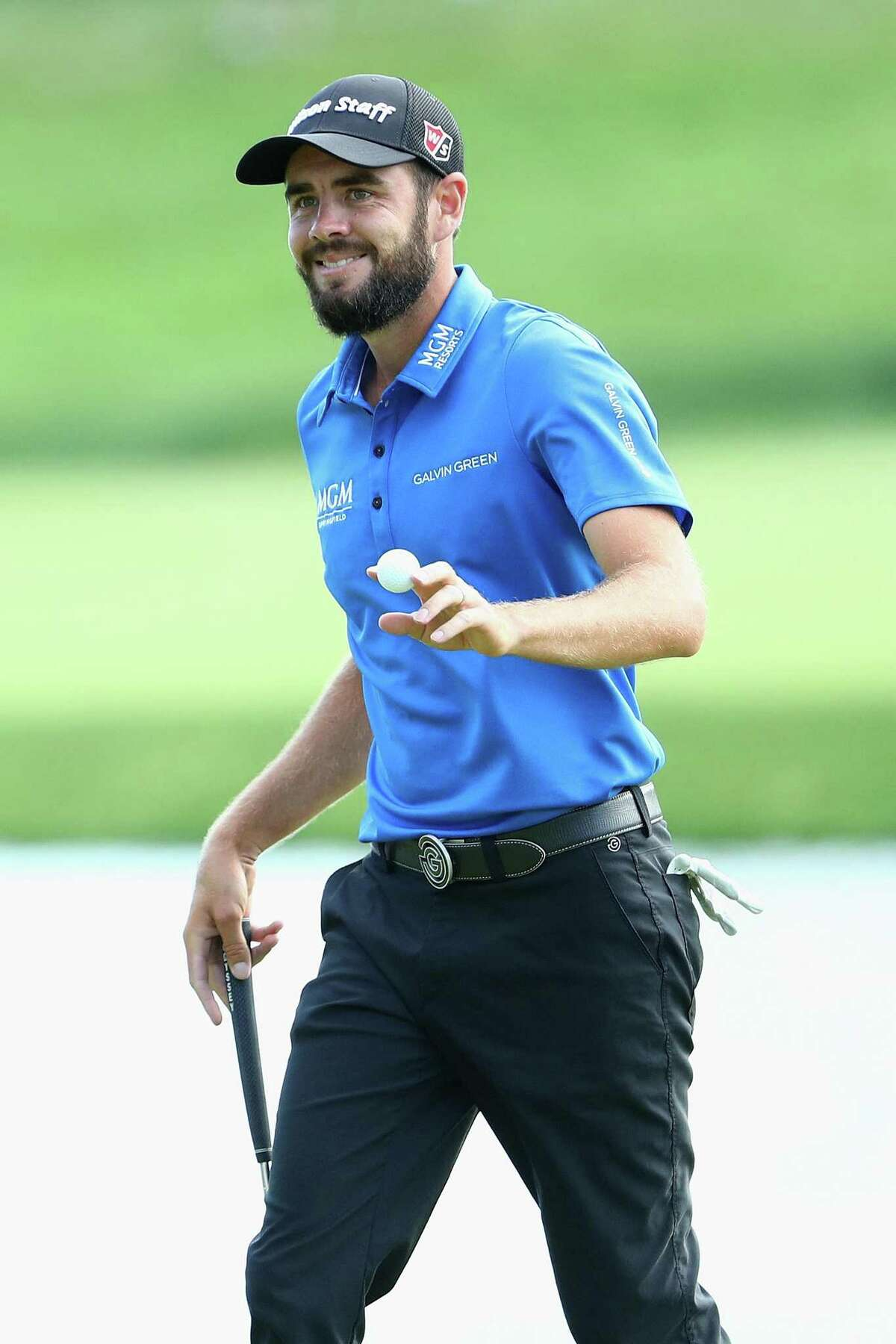Troy Merritt reacts to his putt on the 17th green during the first round of the Travelers Championship on Thursday in Cromwell.