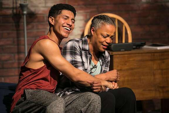 """From left:�Davied Morales as Tray and�Cathleen Riddley as Lena in Shotgun Players' """"brownsville song (b-side for tray)."""""""