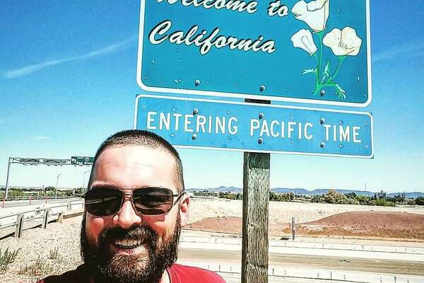 Eli Smith arrives in California in April as part of his walking tour to the four corners of the U.S. to raise awareness on veteran suicide.