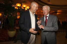 David Pillsbury (left) executive vice president at the PGA tour, with Sandy Tatum (right), former president of USGA who helped lead the drive restoring Harding golf course, at the Presidents Cup Celebration & Taste of Nations at the Fairmont hotel in San Francisco, Calif., on Thursday, October 8, 2009.