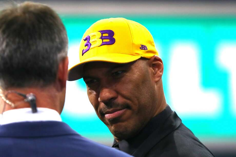 LaVar Ball, father of second overall pick Lonzo Ball of the Los Angeles Lakers, speaks to media during the first round of the 2017 NBA Draft at Barclays Center on June 22, 2017 in New York City.  Photo: Mike Stobe/Getty Images