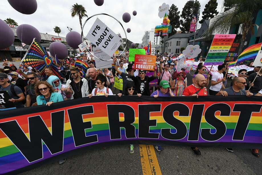 People attend the #ResistMarch at the 47th annual L.A. Pride Festival in Hollywood this month. Photo: MARK RALSTON, AFP/Getty Images
