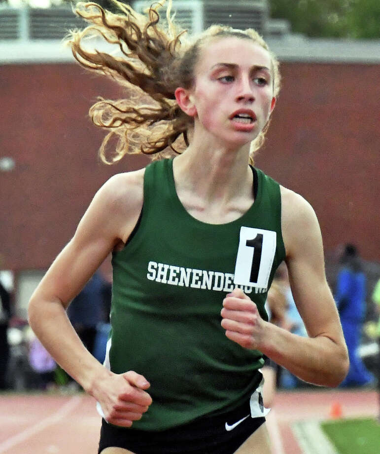 Shenendehowa's Hannah Reale sets a meet record in the girls 1500m Shen Invitational track meet Friday May 12, 2017 in Clifton Park, NY.  (John Carl D'Annibale / Times Union) Photo: John Carl D'Annibale / 20040470A