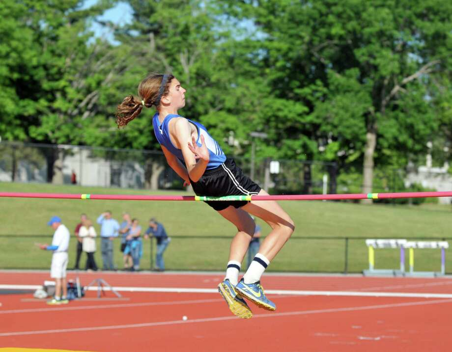 Albany athlete, Eileen Bequette, participates in the high jump section of the pentathlon during the state qualifier meet for high school track Thursday, June 4, 2015, at UAlbany in Albany, N.Y. (Phoebe Sheehan/Special to the Times Union) Photo: PS / 00032155A