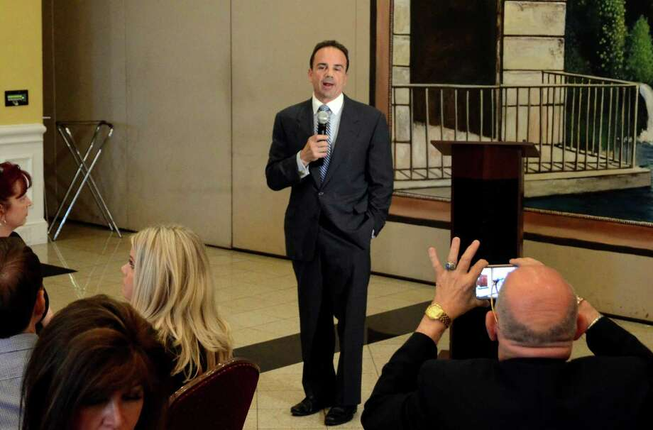 Mayor Joe Ganim speaks at his first fundraiser for his gubernatorial exploratory run held at Testo's Restaurant in Bridgeport, Conn., on Thursday June 22, 2017. Photo: Christian Abraham / Hearst Connecticut Media / Connecticut Post