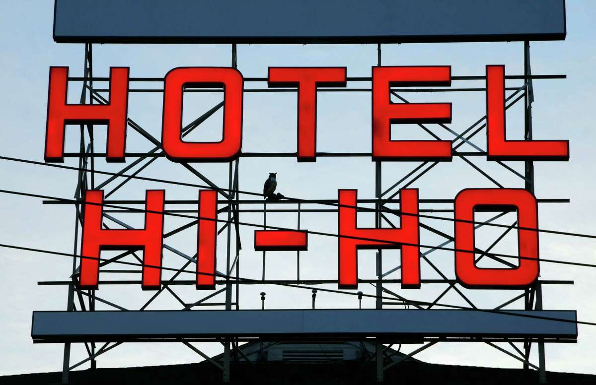 A view at dusk of the new Hotel Hi-Ho sign on Black Rock Turnpike in Fairfield, Conn., on Thursday June 22, 2017.