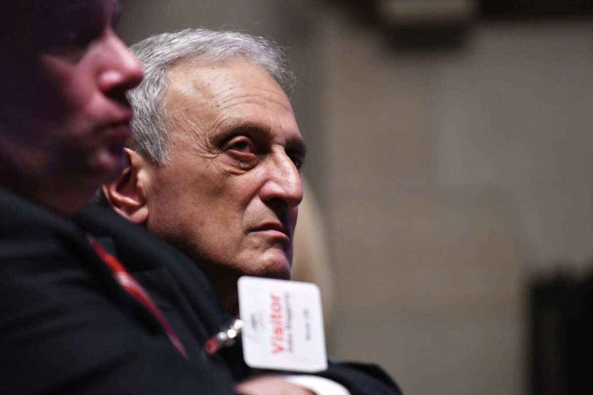 Carl Paladino listens during a hearing to determine if he can be removed from the Buffalo School Board on Thursday, June 22, 2017, at the State Education Building in Albany, N.Y. (Will Waldron/Times Union)