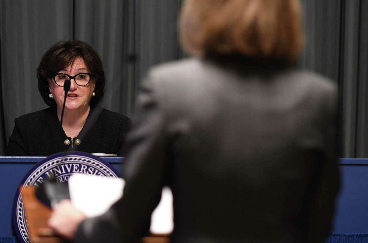 Jennifer Persico, an attorney for Carl Paladino, right, is questioned by State Education Commissioner MaryEllenÊElia, left, during a hearing to determine if Paladino can be removed from the Buffalo school board on Thursday, June 22, 2017, at the State Education Building in Albany, N.Y. (Will Waldron/Times Union)