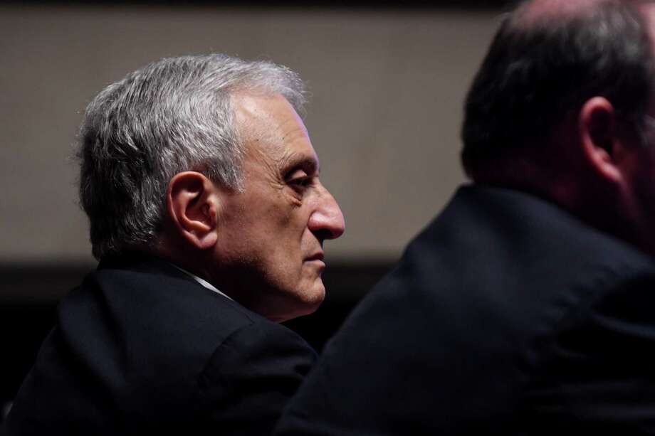 Carl Paladino listens during a hearing to determine if he can be removed from the Buffalo School Board on Thursday, June 22, 2017, at the State Education Building in Albany, N.Y. (Will Waldron/Times Union) Photo: Will Waldron