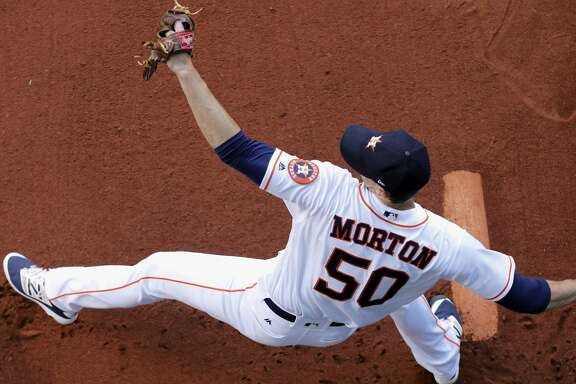 HOUSTON, TX - MAY 24:  Charlie Morton #50 of the Houston Astros warms up before the game against the Detroit Tigers at Minute Maid Park on May 24, 2017 in Houston, Texas.  (Photo by Tim Warner/Getty Images)