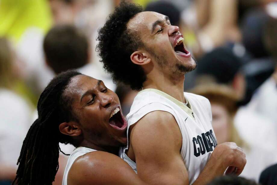 FILE - In this Jan. 28, 2017, file photo, Colorado guard Xavier Johnson, left, hoists guard Derrick White at the end of the team's NCAA college basketball game against Oregon in Boulder, Colo. Colorado won 74-65. The San Antonio Spurs selected White with the 29th pick in the NBA draft Thursday, June 22. (AP Photo/David Zalubowsk, File)) Photo: David Zalubowski, Associated Press / Copyright 2017 The Associated Press. All rights reserved.