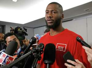Jonathon Simmons  San Antonio Spurs' Jonathon Simmons answers questions from the media Monday May 15, 2017 at the St. Regis Hotel in San Francisco, CA.