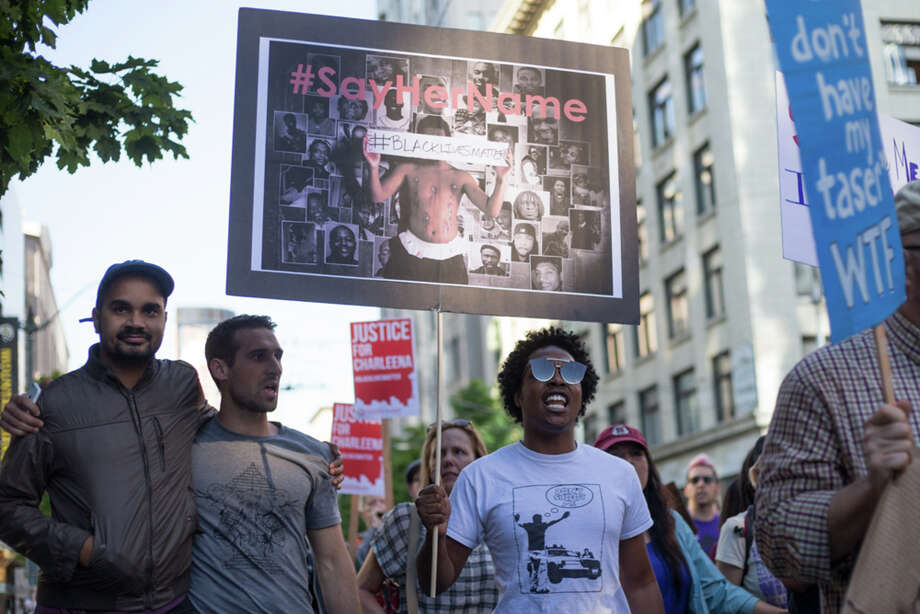 Demonstrators march in protest of the recent police shooting and death of Charleena Lyles. Photo: GRANT HINDSLEY, SEATTLEPI.COM / SEATTLEPI.COM