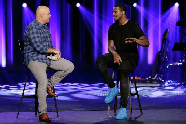 Pastor Kerry Shook interviews Houston Texans new quarterback DeShaun Watson during the 9:30am Sunday morning services at Woodlands Church in The Woodlands, TX, June 17, 2017. (Michael Wyke / For the  Chronicle)