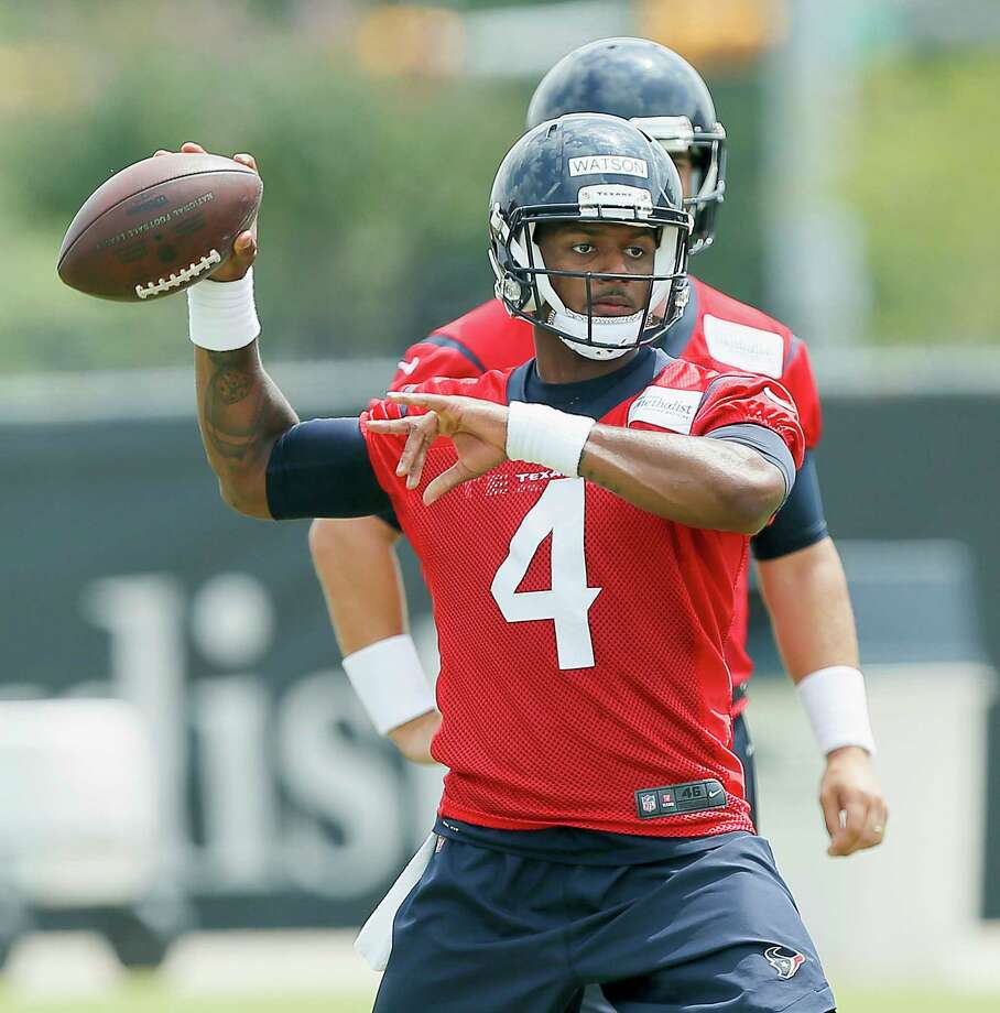 Houston Texans quarterback Deshaun Watson (4) throws a pass during the team's organized team activity at its NFL football training facility Wednesday, May 31, 2017, in Houston. (AP Photo/Bob Levey) Photo: Bob Levey, FRE / AP
