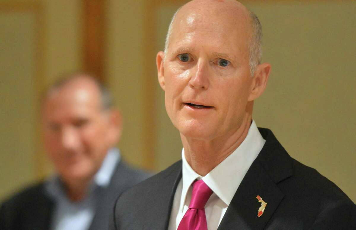Florida Governor Rick Scott speaks during a meeting at The Norwalk Inn on Monday, June 19, 2017 in Norwalk. Scott spoke about moving Connecticut companies to Florida.