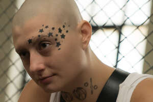 "Actress Francesca Curran as ""Skinhead Helen"" in the Netflix dramedy ""Orange is the New Black."""