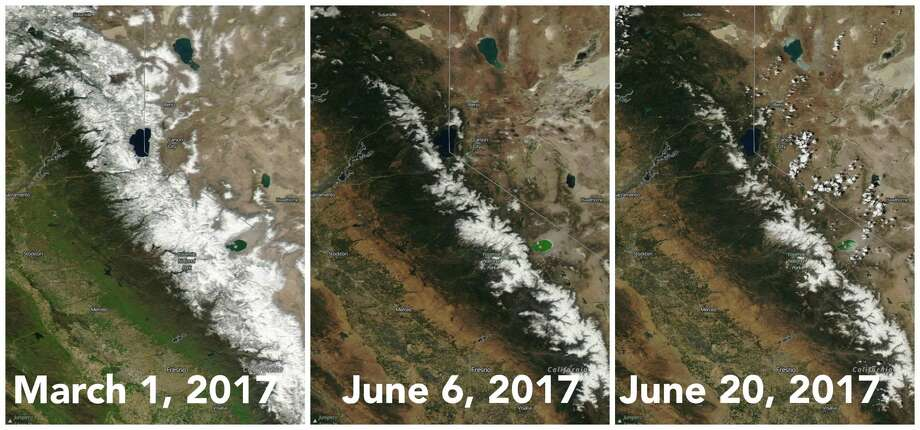 Left: Sierra snowpack on March 1, 2017 at 184 percent of normal for this date. Middle: Sierra snowpack on June 6, 2017 at 177 percent of normal for this date. Right: Sierra snowpack on June 20, 2017 at 143 percent of normal for this date. Photo: NASA Worldview EOSDIS