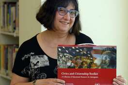 Yelena Klompus of Stamford, is photograph at Ferguson Library in Stamford, Conn., on Tuesday, June 13, 2017. Klompus, a World Languages and Literacy librarian, is this year's winner of Building One Community's Land of Opportunity Award.