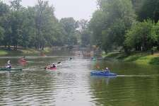 The lake at Drost Park is crowded with participants during a previous kayak day.