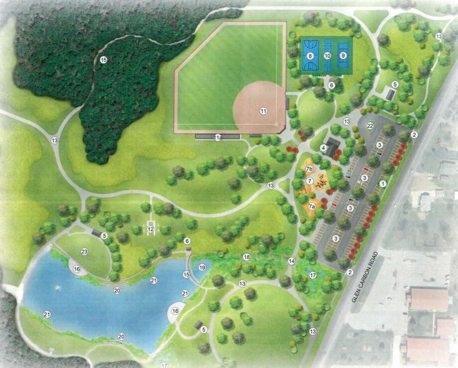 This drawing shows what Schon Park will look like when it is complete. Phase II includes the parking lot, playground, baseball field, tennis court, pickleball court and basketball court among other amenities.