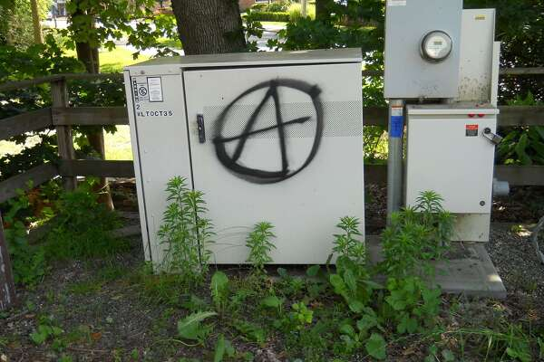 Graffiti in Wilton Town Center reported to Wilton Police on June 21, 2017.