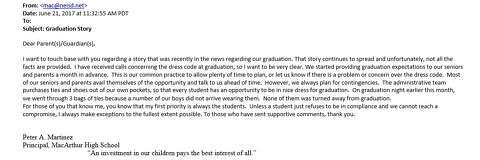 999eb15fffe The letter MacArthur High School Principal Peter A. Martinez sent to  parents on June 21