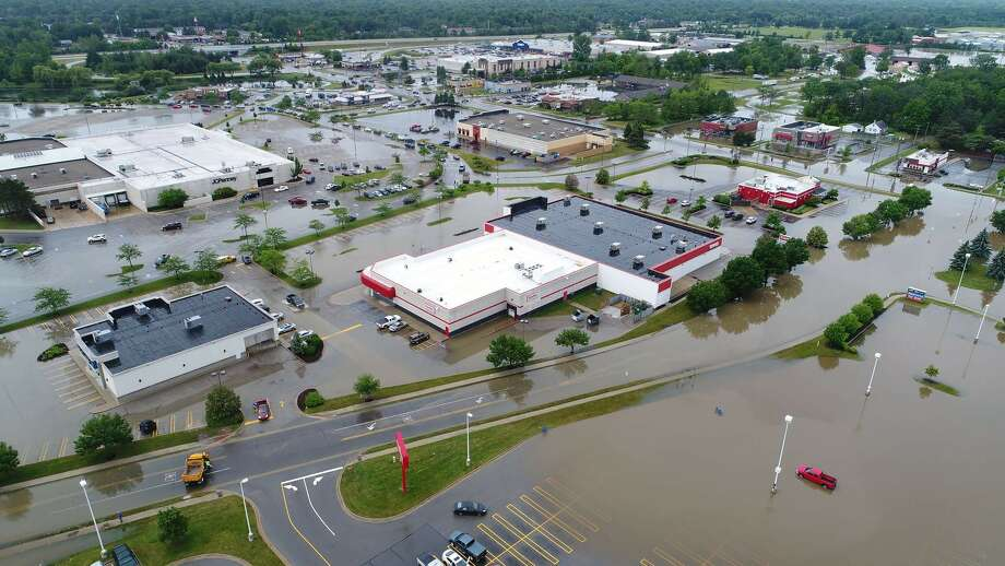 A view of flooding in the area near Joe Mann Boulevard and Eastman Avenue as seen from a drone. Photo: Provided By Jeremiah Greenwood