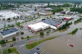 A view of flooding in the area near Joe Mann Boulevard and Eastman Avenue as seen from a drone.