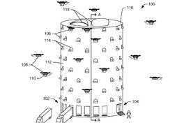 An illustration from a patent application for multi-level fulfillment centers shows drones swarming around the building.