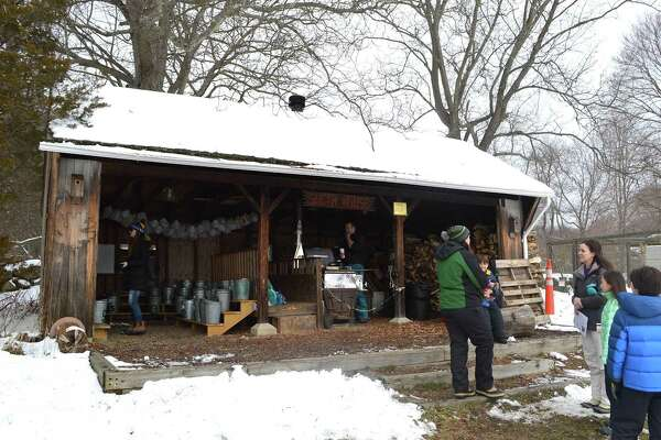 The Sugar House, where sap becomes maple syrup, at the start of the Adopt-a-Tree maple syrup program at the New Canaan Nature Center, Saturday, Feb. 11, 2017, in New Canaan, Conn.