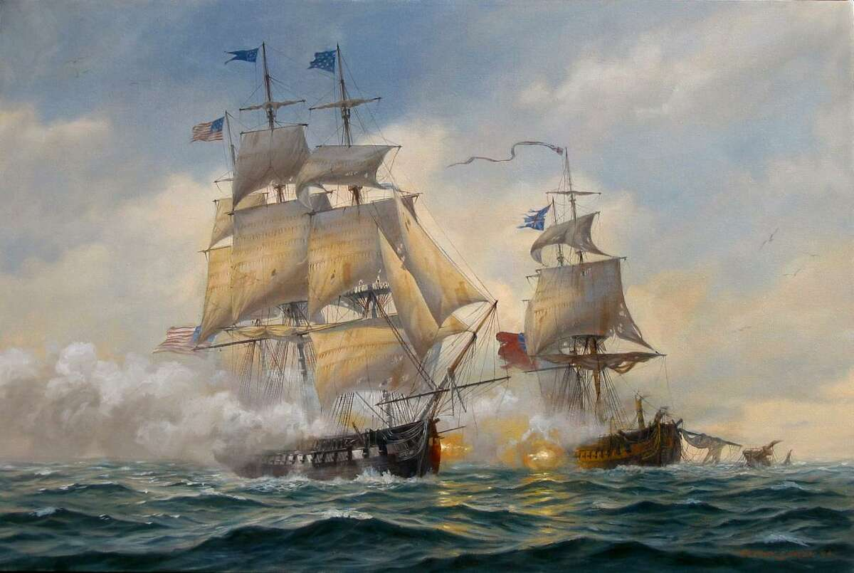 """""""USS Constitution vs. HMS Java, December 29, 1812,"""" By Patrick O'Brien, was built in Boston in 1797. She was one of the first of the original six frigates that made up the U.S. Navy. It is on view at the J. Russell Jinishian Gallery in Fairfield."""