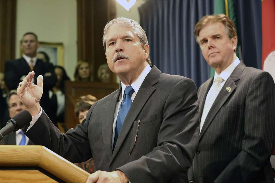 Sen. Larry Taylor announces education plan during a press conference with Lt. Gov. Dan Patrick on March 3. But the Senate and Patrick in particular failed Texas students by depriving schools of increased revenue. Photo: Tom Reel /San Antonio Express-News / Internal