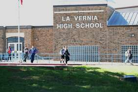 Students from La Vernia High School leave the campus after the final bell on March 30, 2017. In the wake of recent events which resulted in arrests of 10 students for hazing other students and charged with sexual assault, La Vernia ISD Superintendent Jose H. Moreno has urged his staff, administrators and teachers to help students return to normalcy.