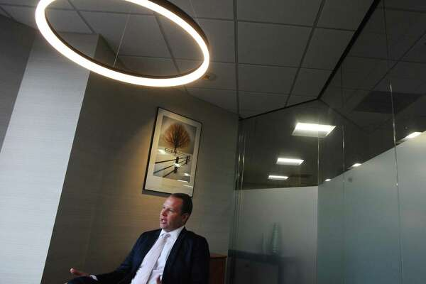 Derek Sabine, the founder and owner of Newpointe Wealth, discusses his wealth management firm inside his Landmark Square office in downtown Stamford, Conn. on Thursday, June 15, 2017.