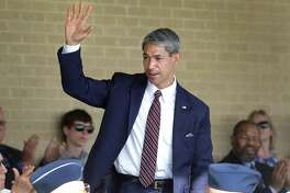 """Mayor-elect Ron Nirenberg attends basic military training graduation at Joint Base San Antonio-Lackland on June 16. He was tagged as """"Liberal Ron"""" during the campaign, but it didn't seem to fly with voters. Perhaps the power of such labels is diminishing."""
