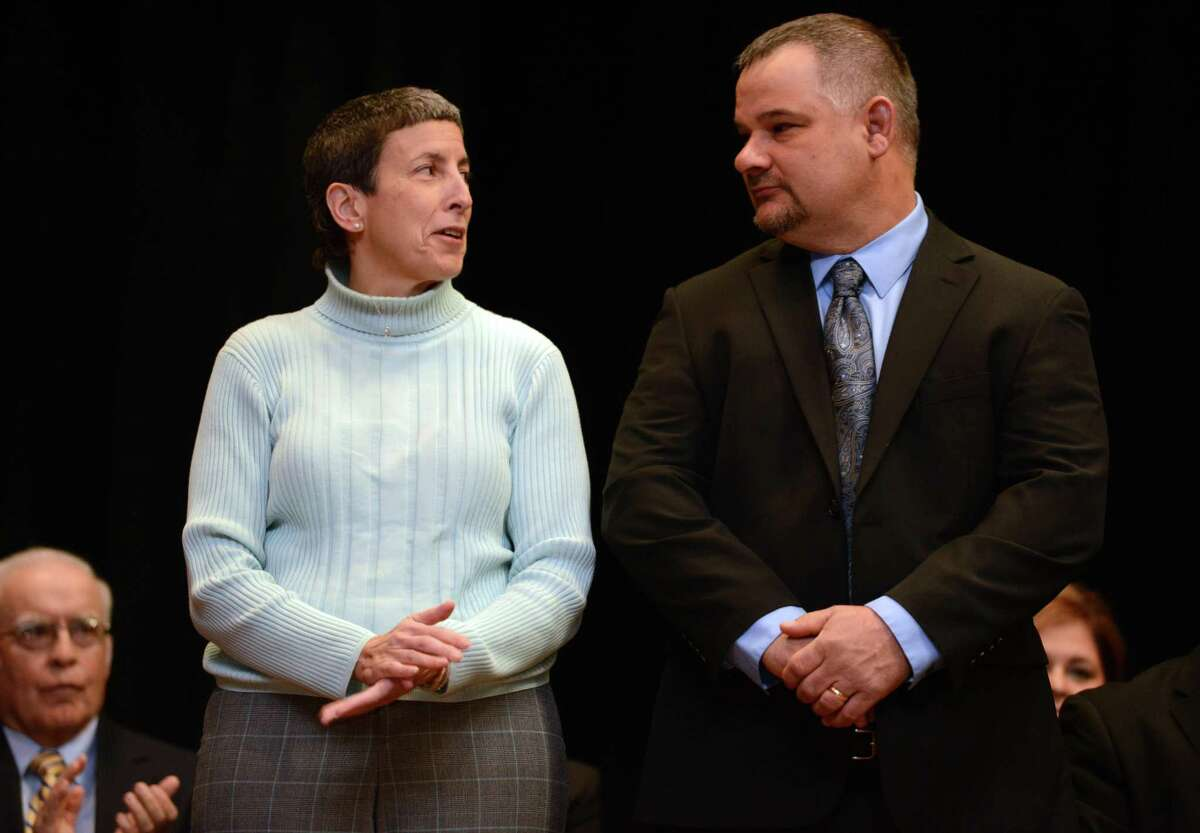 Derby Alderwoman Barbara DeGennaro is pictured with fellow Alderman Joseph DiMartino during the 2015 inauguration ceremony. DeGennaro called for a citywide meeting to deal with downtown vandalism.